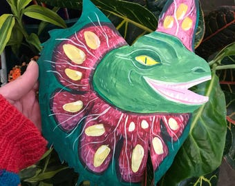 dilophosaurus dinosaur hand painted wooden wall hanging home decor - Jurassic park