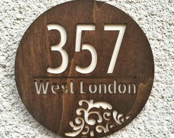 Personalized house address sign, wooden address plaque, Personalised address number sign, House Warming Gift, House Number sign