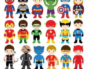 18 Boys Superhero Costumes Clipart, Superheroes Clipart, Superhero Boys, Superhero Kids, Superman Clipart, Batman Clipart, Spiderman Clipart