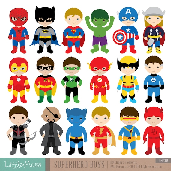 18 boys superhero costumes clipart superheroes clipart superhero rh etsystudio com superhero clipart images superhero clipart kids