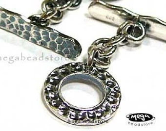 2 Sets 10.5mm Toggle 925 Sterling Silver Hammered Toggle Clasps T118
