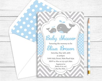 Whale Baby Shower Invitation, Whale Printable Party Invitation, Grey Light Blue Chevron Polkadots Shower, Whale Party Supplies