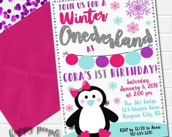 Girl Winter Onederland Invitation, Onederland Party Invitation, Penguin Invitation, First Birthday Invitation, Winter Onederland Birthday