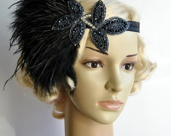 The Great Gatsby Headband, Vintage Inspired Headband, 1920s headpiece, Flapper Feather Headband, 1920's, 1930's, Black ,rhinestone