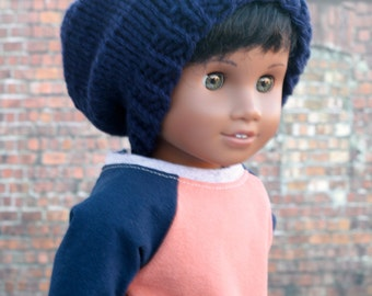 AG Doll Clothes | Navy Blue Hand Knitted Slouch Slouchy HAT for 18 Inch Dolls