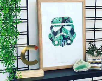 Star Wars Storm Trooper Tropical Wall Art - printed wall art - comes framed