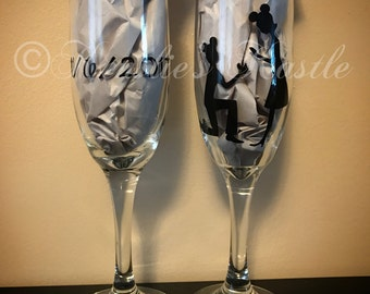 Disney Engagement Champagne Flutes-set of two