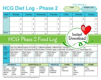 HCG Weekly Phase 2 Food Tracker | Weight Loss Journal, diet log, weight loss diary, diet log, Phase 2 food list, VLCD, Dr. Simeons