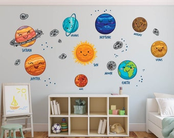 Solar System Wall Decal, Planets Wall Decal, Sun, Nursery Wall Decal, Kids  Play Room Wall Decal, Outer Space Decal