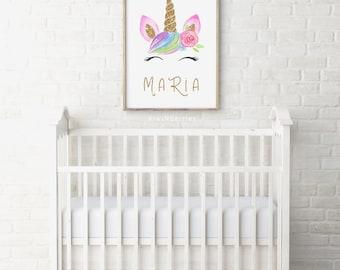 Personalized unicorn wall art - Unicorn name print - Custom unicorn poster - Baby girl gift - Little girl wall art - Personalized gifts