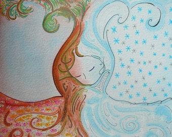 "Womanhood art halloween art sketch Friday painting ""Samhain"" original on paper by Gioia Albano"