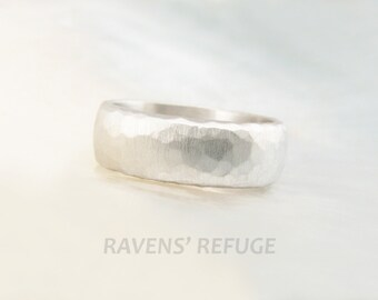 platinum wedding band for men or women -- 6mm wide hand hammered low dome wedding ring