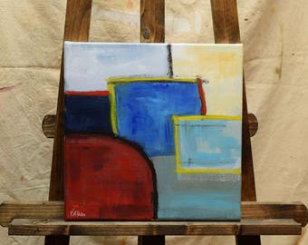 ORIGINAL Small Abstract Painting White Blue Red Turquoise 10 x 10 Gallery Wrapped