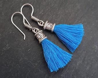 Mini Electric Blue Tassel Drop Earrings Bohemian Boho Style Light Comfortable Daytime Jewelry Authentic Turkish Style - FREE SHIPPING
