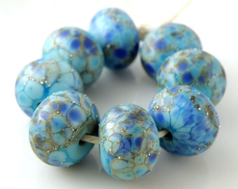 Blue Destiny Made to Order SRA Lampwork Handmade Artisan Glass Donut/Round Beads Set of 8 8x12mm