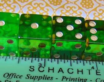 Vintage Prystal Bakelite Green Dice. Set of four.