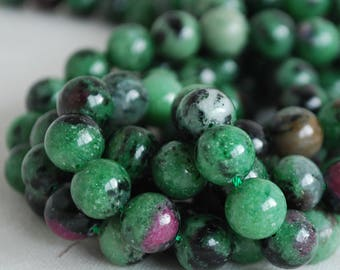 "High Quality Grade A Natural Ruby Zoisite (green) Semi-precious Gemstone Round Beads - 4mm, 6mm, 8mm, 10mm sizes - 16"" strand"