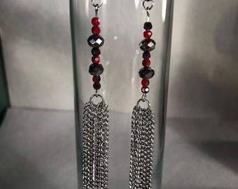 Handmade earrings - boho earrings - dangle earrings - red earrings - long earrings - unique earrings - statement earrings - chic earrings