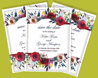 A6 Autumn bouquet Save the Date design
