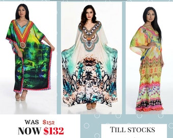 Kaftan dress, digital print kaftan, plus size dress, kaftan maxi dress, Set of 3,  Kaftans in silk crepe !