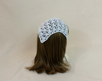 White Hair Kerchief - Crochet Scarf Headband - Lace Hair Tie - Triangle Bandana Head Scarf