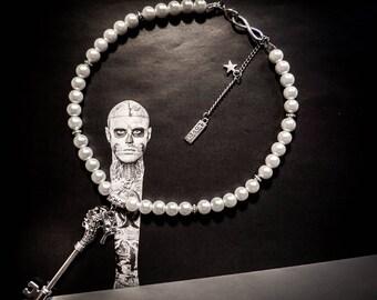 Necklace Boho Chic Pearl key seahorse ♰Seahorse♰ silvery cream pearls