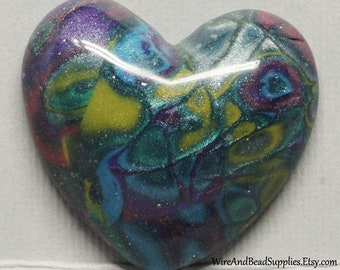Mokume Gane Heart Cabochon Blue, Yellow, Green, Pink and Purple Polymer Clay Cabochon