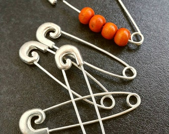Bright silver look kilt pins with removable heads - Beaded brooch blanks - Australian seller