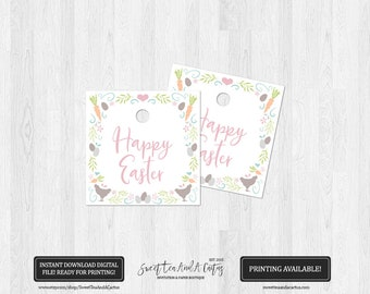 Easter Egg Party Favor Tags - Spring Mosaic Thank You Tags - Happy Easter Printable - Gift Bag Tags - Easter Egg Hunt - Farmhouse Animals