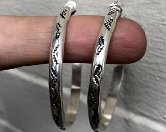 Hand Stamped Sterling Silver Hoop Earrings- medium size