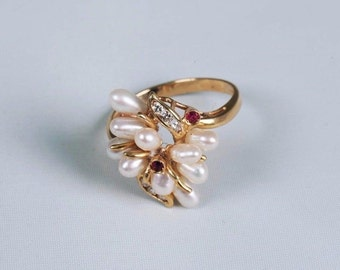 18K Yellow Gold Pearl, Ruby and Diamond Ring, size 6.5