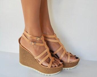 Leather wedge sandals, Platform sandals, Gladiator sandals, Handmade sandals, Cork wedge platform, Greek leather sandal ''Elsa''