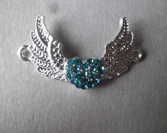 x 1 4 x 2.5 cm silver plated blue rhinestone Crystal heart wing connector