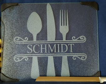 "Custom personalized etched glass cutting board 12"" x 15"" Housewarming Wedding Realtor"
