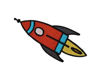 Spaceship Iron On Applique, Spaceship Iron on Patch, Rocket Patch, Rocket Applique, Spaceship Applique, Kids Patch, Embroidered Patch