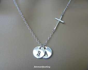 Sterling Silver Sideways Cross Necklace, Kids Initial Necklace, Monogram Necklace, Mothers day Gift, Personalized Necklace