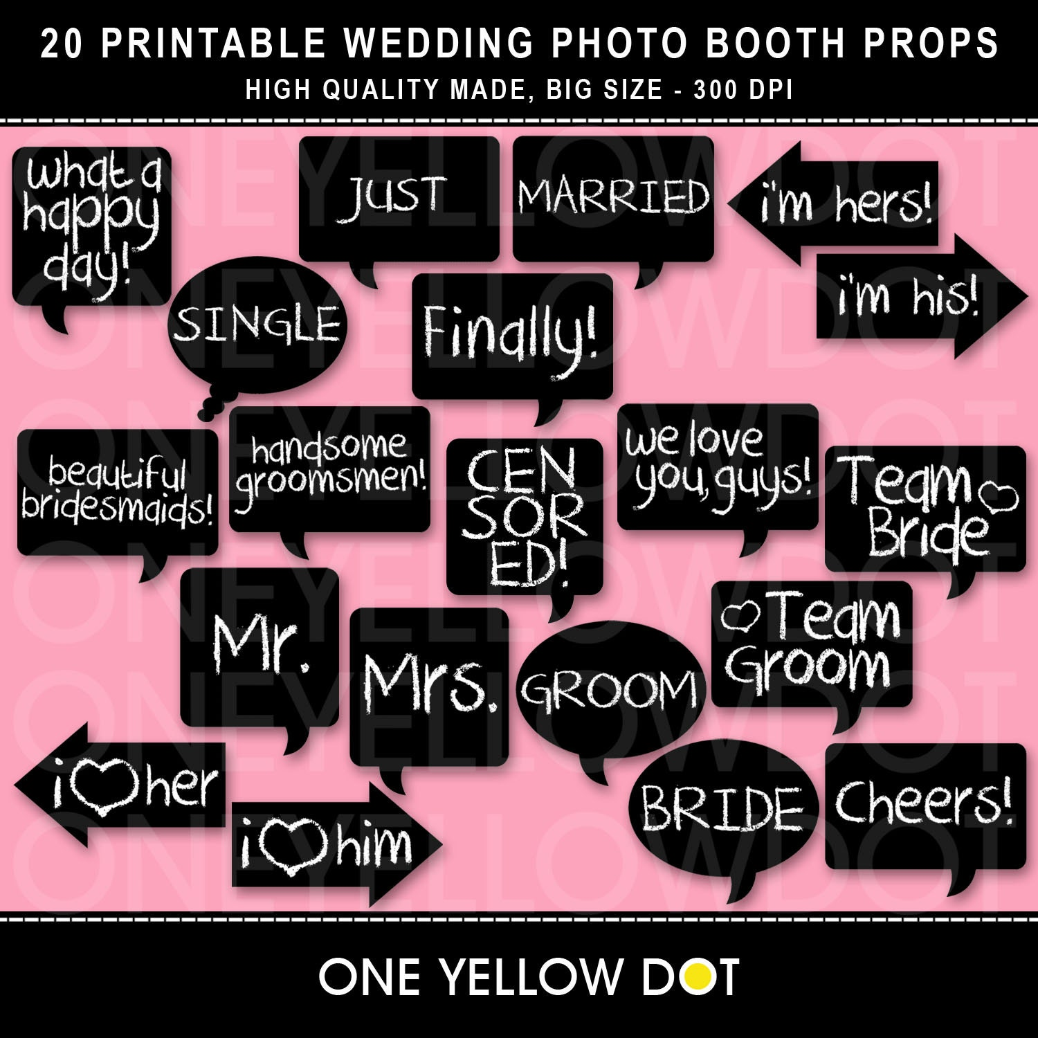 Wedding Photo Props Ideas: INSTANT DOWNLOAD Wedding Photo Booth Props Printable PDF