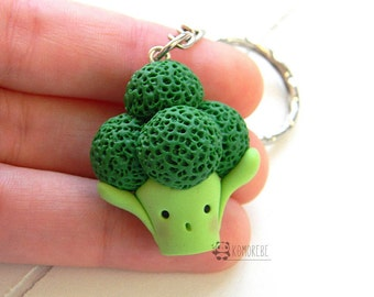 Broccoli, kawaii broccoli, Fimo key ring, food miniatures, Vegan, veggy, Keyring in polymer clay