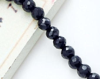 45 Natural  Black Spinel Faceted Round Beads  3.8mm. :gs8163