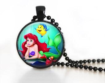 Little Mermaid Ariel Glass Pendant, Photo Glass Necklace, Glass Keychain, Glass Jewelry