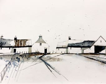 Farm View, original pencil, watercolour, charcoal and gesso painting, framed