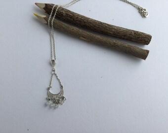 Sterling silver pendant - Black Swarovski beads pendant - Mother's day pendant - Birthday pendant - Gift for her - Dainty pendant -