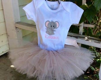 Elephant set, baby tutu set, infant clothing, clothing, toddler clothing, toddler shirt, kids, shirt, girls shirt, baby one piece, shirt