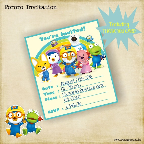 Printable pororo birthday invitation thank you card stopboris Gallery