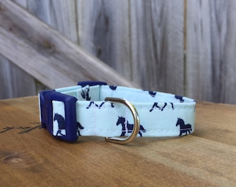 Derby Horses Dog Collar-NON-MONOGRAMMED