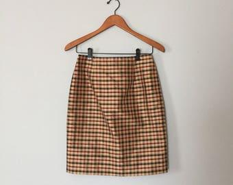 CHECKERED silk skirt | auburn red and beige gold mini skirt | silk checkered skirt