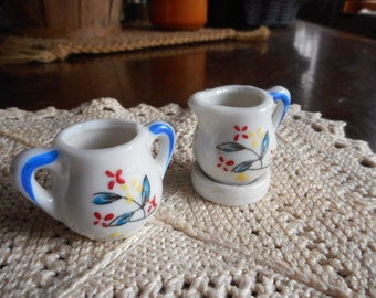 Vintage Miniature Bone white china sugar bowl & creamer cobalt blue red petal flowers
