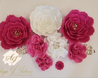 Fuschia & White Paper Flowers