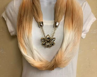 Light Weight Tan and White Infinity Scarf