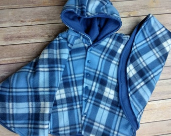 Size 4 fleece car seat poncho - ready to ship - winter kids children's poncho -coat winter jacket - 2T 3T 4T - 2-4 years - blue plaid